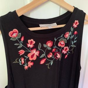 LOFT Shift Black Dress with Floral Embroidery